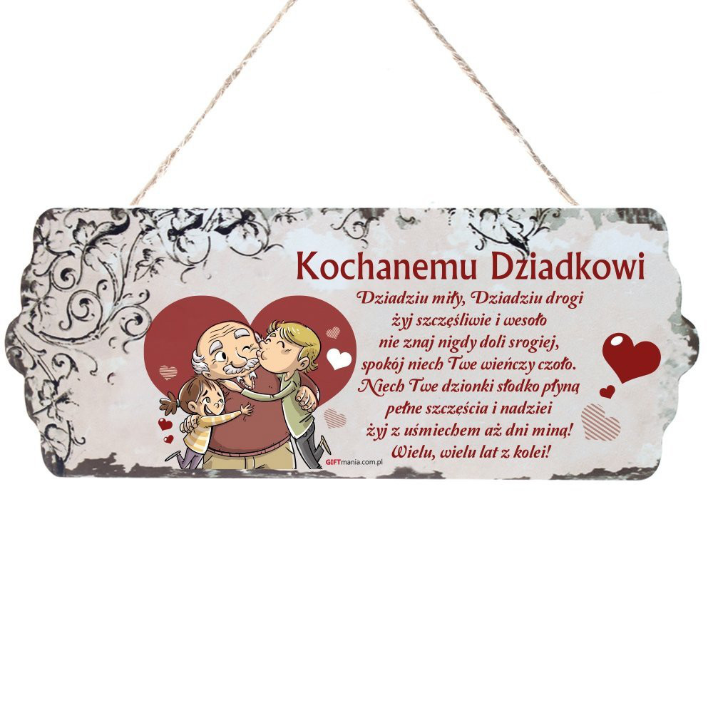 """Drewniana tabliczka """"Kochanemu Dziadkowi"""" / DIL-PH-T-6699-31-W04"""