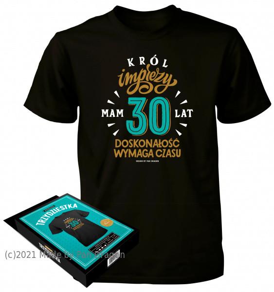 """Koszulka na 30 urodziny - """"Król Imprezy"""" / rozm. M"""