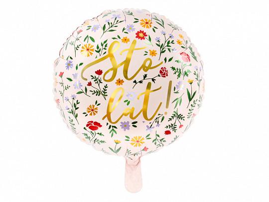 Balon foliowy Sto lat! / 35 cm