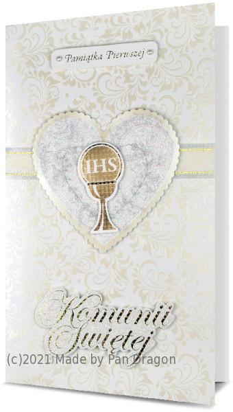Duża kartka z życzeniami na Komunię (17x30 cm) / PREMIUM-203
