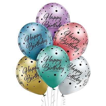 """Balony lateksowe Glossy 12"""" z napisem """"Happy Birthday"""""""