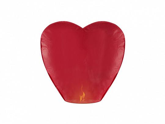 Lampion latający Serce, czerwony / 33x83x90 cm