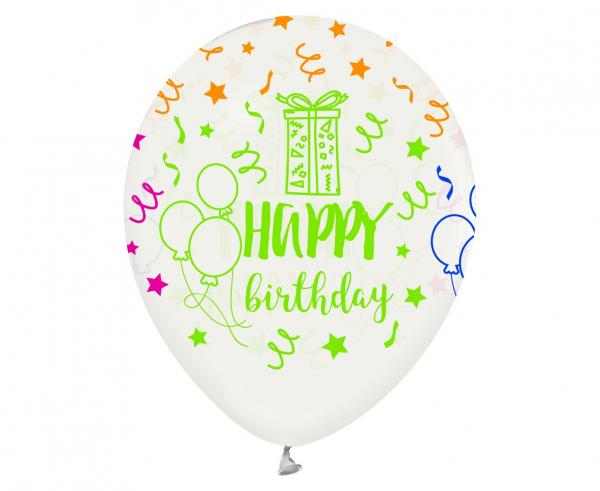 "Balony lateksowe 12"" ""Happy Birthday"""