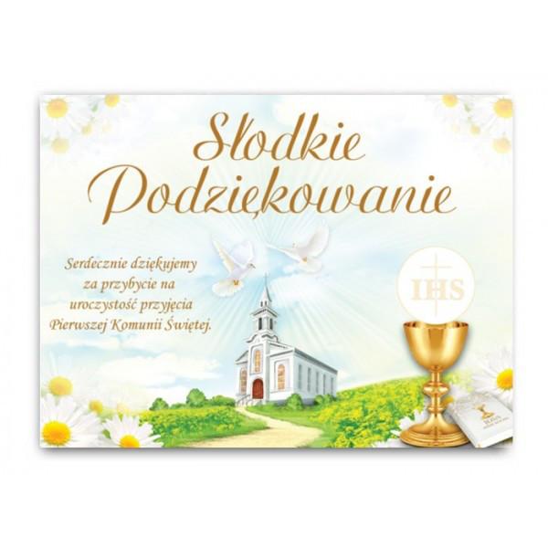 """Etykietki naklejki na ciasto podziękowania komunijne """"Słodkie podziękowania"""" / EC900"""