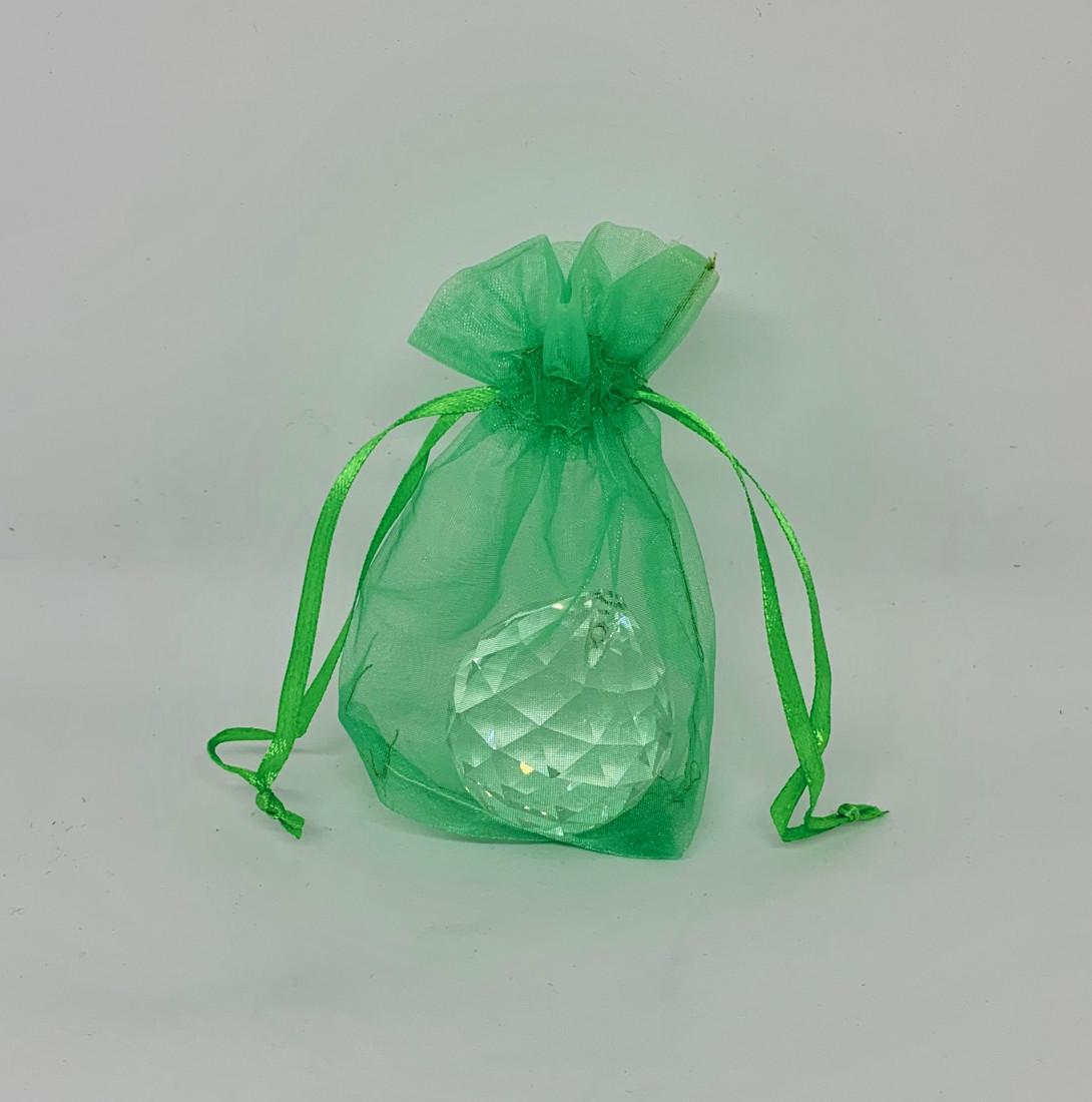 Zielone woreczki z organzy / 7x10,5 cm