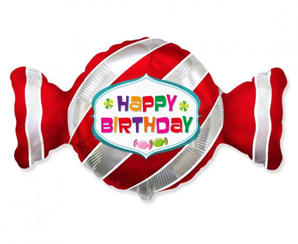 """Balon foliowy 24"""" cukierek """"Happy Birthday"""" (niezapakowany)"""