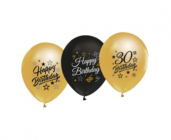 Zestaw balonów lateksowych na 30 urodziny