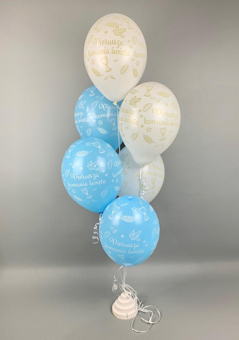 Balony Komunijne lateksowe na I Komunię Świętą, błękit-biel