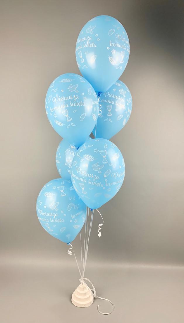 Balony Komunijne lateksowe na I Komunię Świętą, błękitne