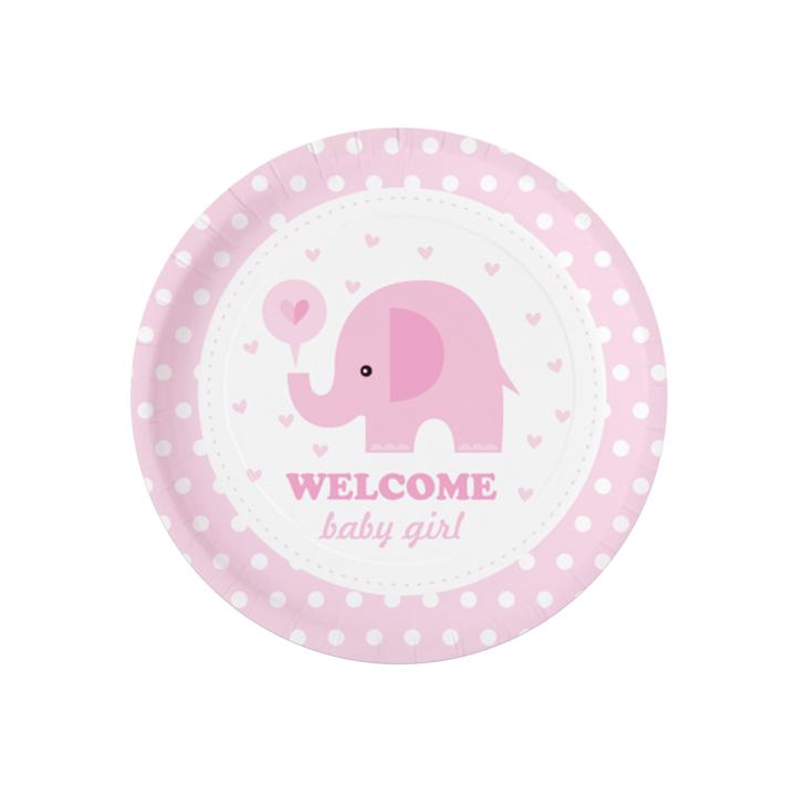 """Talerzyki na Baby Shower """"Różowy słonik"""""""