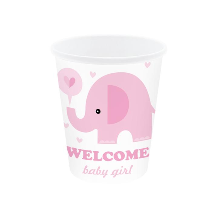 """Kubeczki na Baby Shower """"Różowy słonik"""""""