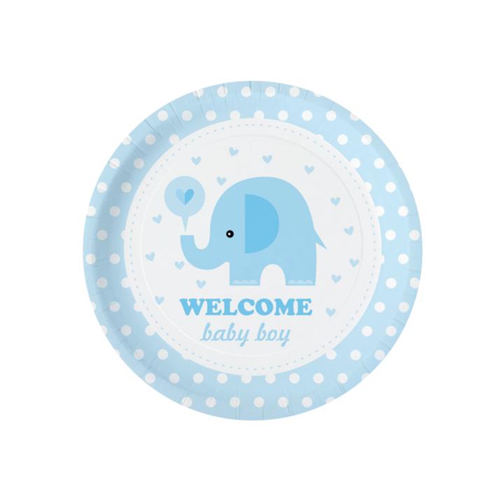 """Talerzyki na Baby Shower """"Niebieski słonik"""""""
