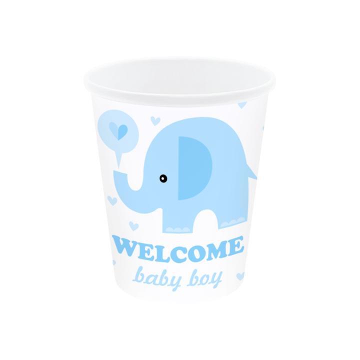 """Kubeczki na Baby Shower """"Niebieski słonik"""""""