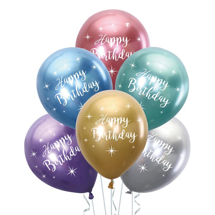 """Balony lateksowe 12"""" chromowane Happy Birthday, mix kolorów"""