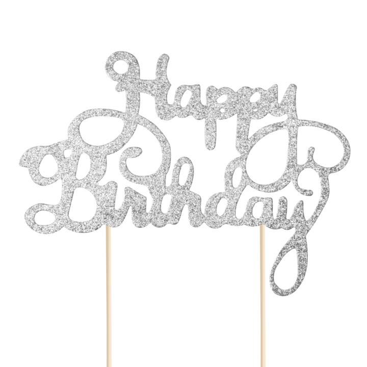 """Brokatowy, srebrny topper na tort """"Happy Birthday"""""""