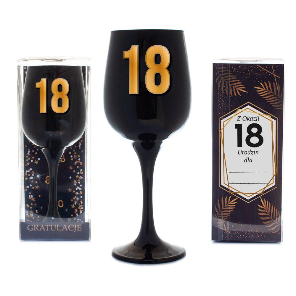 """Czarny kielich na wino """"18 urodziny"""""""