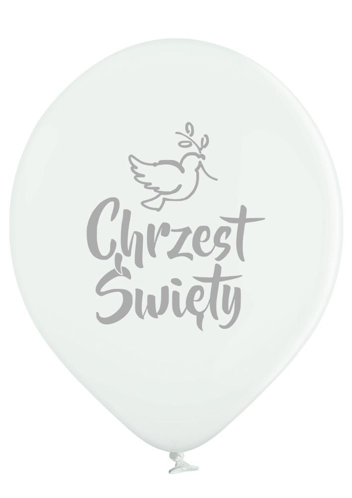 Białe balony ze srebrnym nadrukiem Chrzest Święty