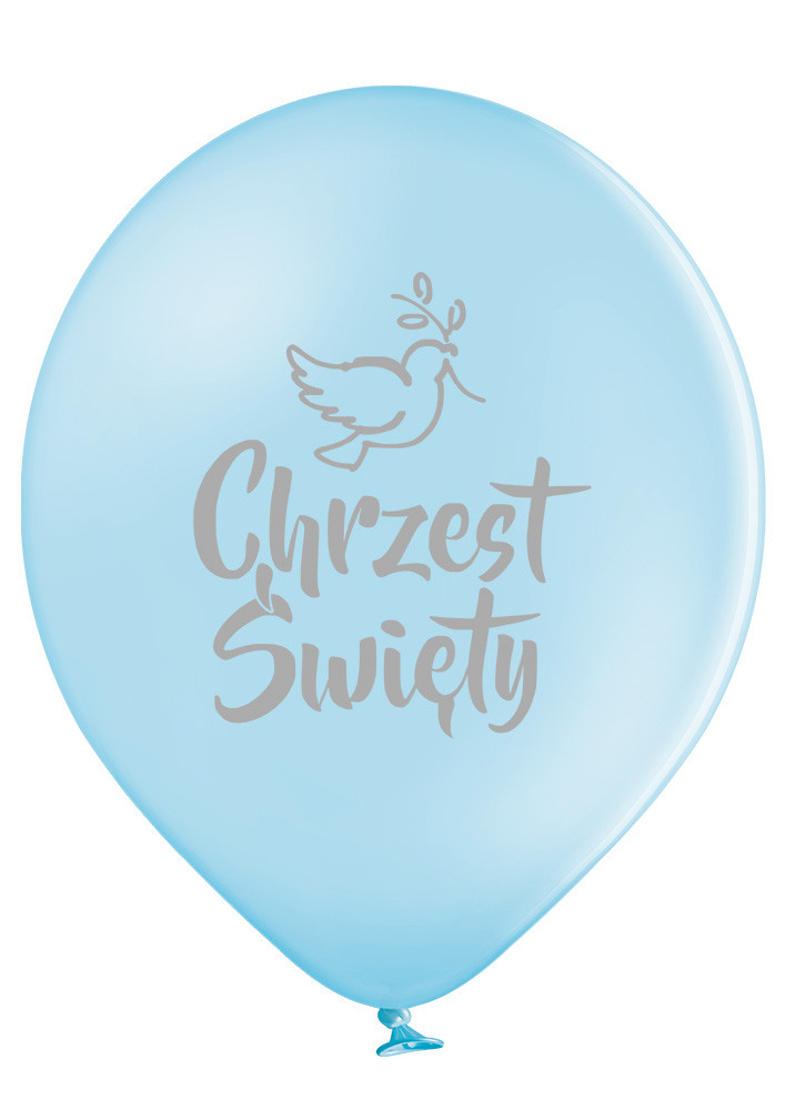 Błękitne balony ze srebrnym nadrukiem Chrzest Święty