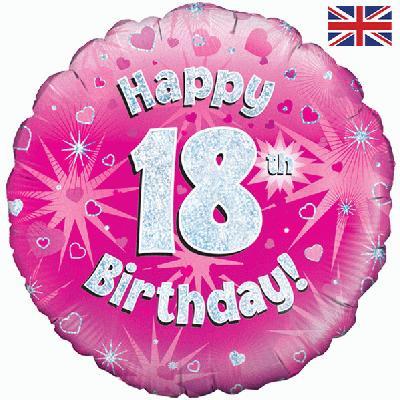 """Różowy balon foliowy holograficzny """"Happy 18 Birthday"""""""