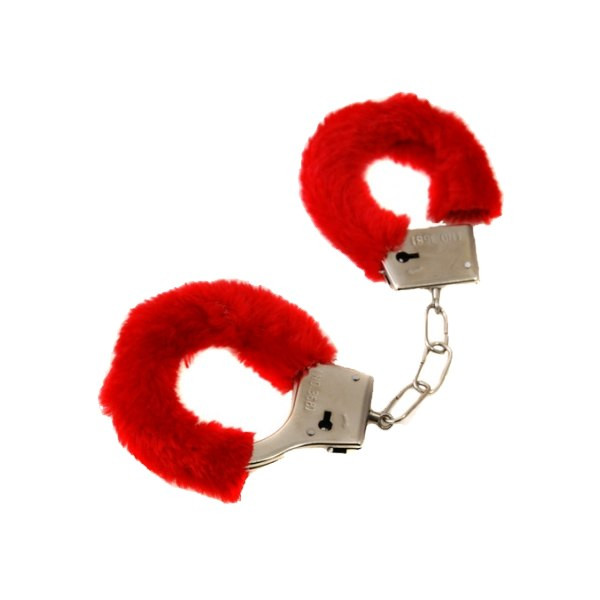 Czerwone kajdanki z futerkiem
