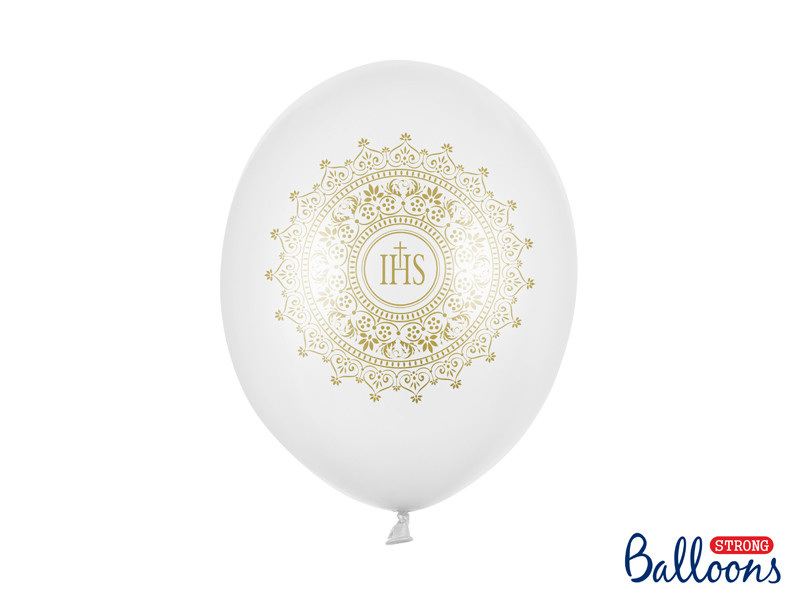 Balony Komunijne lateksowe na I  Komunię Świętą,  IHS-Metalic Pure White
