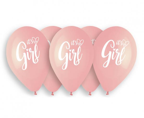 """Balony lateksowe 13"""" różowe """"It is a Girl"""""""