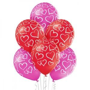 Balony lateksowe z Serduszkami na Walentynki