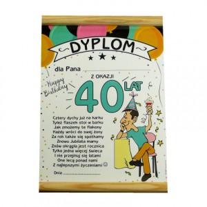 Kartki i dyplomy na 40 urodziny