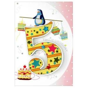 Kartki z życzeniami na 5 urodziny