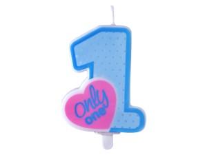 Świeczki cyfry i liczby - Świeczka urodzinowa Only One, błękitna