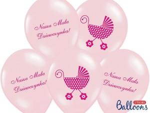 """Balony lateksowe z napisami - Balony na Narodziny dziecka lateksowe """"Wózek - Nasza Mała Dziewczynka"""" / SB14P-220-081J/6"""