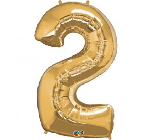 """Balony foliowe cyfry 86 cm - Balon foliowy 34"""" złota """"Cyfra 2"""" / 30477"""