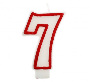 """Świeczki cyfry i liczby - Świeczka cyferka """"7"""", czerwony kontur 7 cm"""