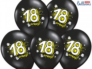 Balony 30cm, 18 & crazy, Pastel Black / 6 szt