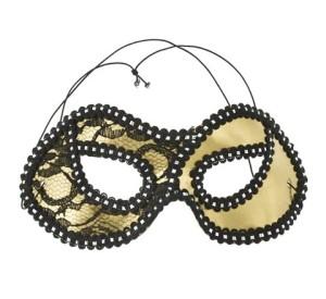 Maski - Maska Dama z koronką, złota