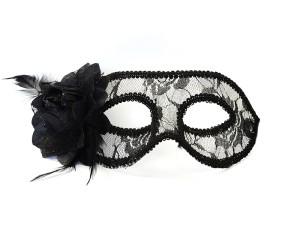 Maski Weneckie - Maska karnawałowa Wenecka koronkowa czarna z różą