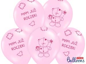 """Balony lateksowe z napisami - Balony urodzinowe na Roczek dla dziewczynki """"1""""""""Miś - mam już roczek"""" / SB14P-221-081J/6"""