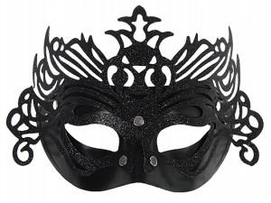 Maski Weneckie - Maska karnawałowa Wenecka czarna z ornamentem
