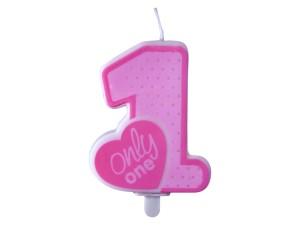 Świeczki cyfry i liczby - Świeczka urodzinowa Only One, różowa
