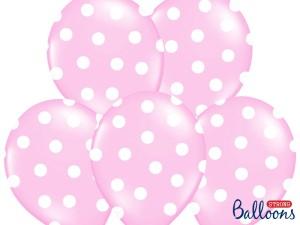 Balony lateksowe groszki i konfetti - Balony lateksowe pudrowy róż w białe Kropki / SB14P-223-081JW/6