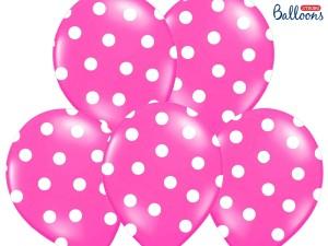 """Balony lateksowe groszki i konfetti - Balony lateksowe z nadrukiem """"Kropki"""", różowe / 30 cm SB14P-223-006W/6"""
