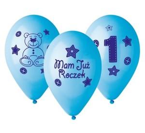 """Balony lateksowe cyfry i liczby - Balony urodzinowe na Roczek dla chłopca """"Moje 1 urodziny"""" / GB-MU1B"""