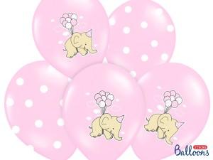 Balony lateksowe z nadrukiem - Balony na Narodziny dziecka lateksowe różowe ze Słonikiem / SB14P-256-000/6