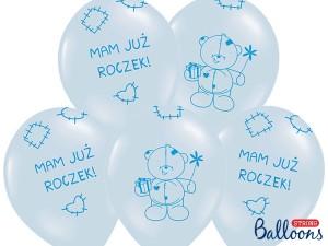 """Balony lateksowe z napisami - Balony lateksowe """"Miś - mam już roczek"""", niebieskie / 30 cm"""