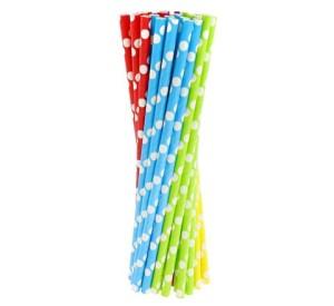 Rurki (słomki) pap. w grochy - 5 kolorów, 6x197mm