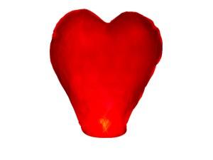 Lampiony latające - Lampion latający Serce, czerwony / 37x93x95 cm