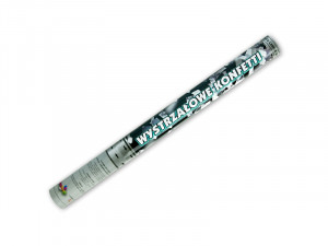 Tuba strzelająca srebrnym, metalizowanym konfetti