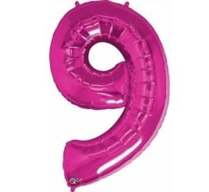"""Balony foliowe cyfry 86 cm - Balon foliowy - fuksjowa cyfra """"9"""" / 86 cm"""