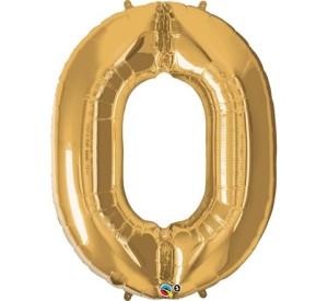 """Balony foliowe cyfry 86 cm - Balon foliowy 34"""" QL """"Number 0"""", złoty"""