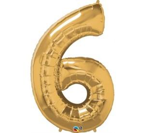 """Balony foliowe cyfry 86 cm - Balon foliowy SuperShape cyfra """"6"""", złoty / 86 cm"""